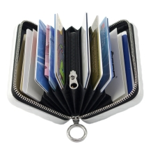 Ögon Quilted Zipper Card Holder Kartenetui RFID-safe mit Münzfach Platin