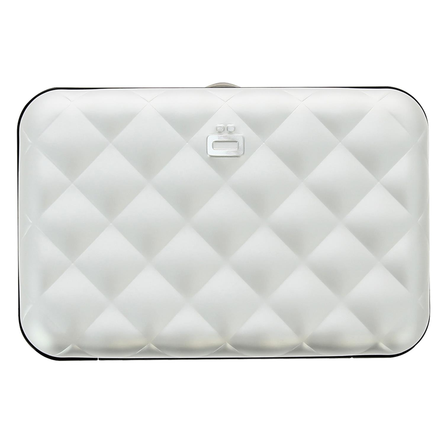 Ögon Quilted Button Card Holder Kartenetui RFID-safe Silber