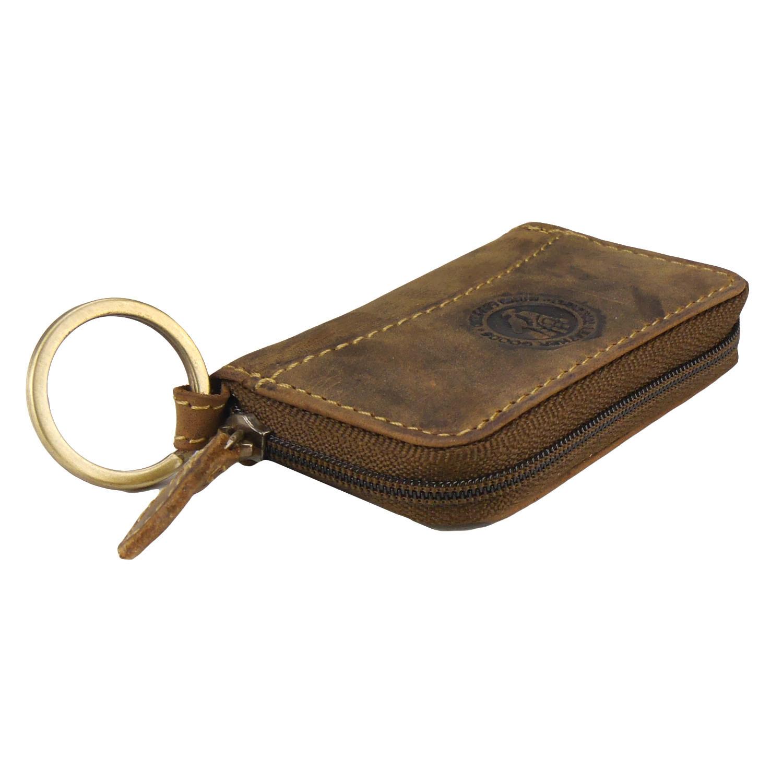 Greenburry Vintage Reißverschluss Schlüsselbörse Leder Braun Schlüsseletui