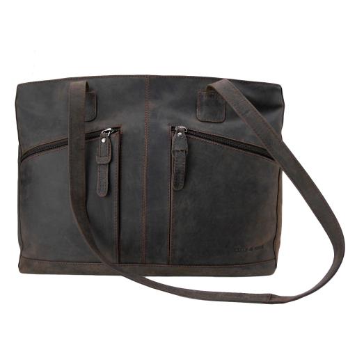 bbf6fbaf25c6a Greenburry Vintage Revival RL-1777-22 Leder Shopper Schultertasche für Damen